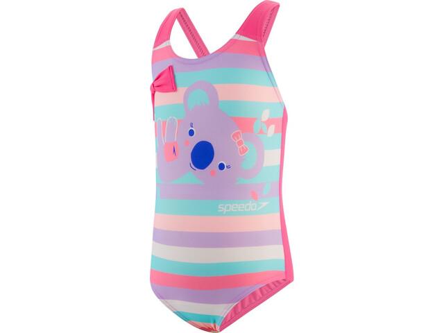 speedo Koko Koala Placement Crossback Swimsuit Girls, rosa/Multicolor